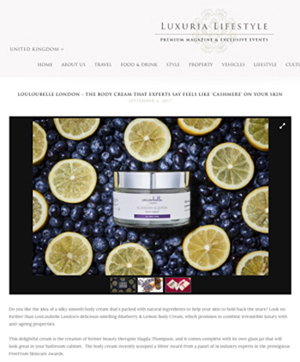 LouLouBelle London's Blueberry & Lemon Body Cream, as seen in Luxuria Lifestyle