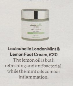 LouLouBelle London's Mint & Lemon foot cream, as featured in The Sunday Times Style magazine